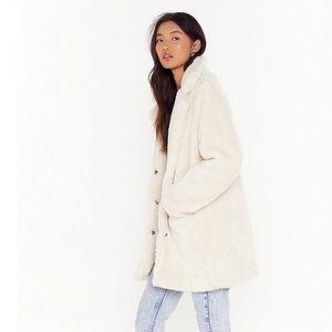 Faux Fur Teddy Bear Coat L